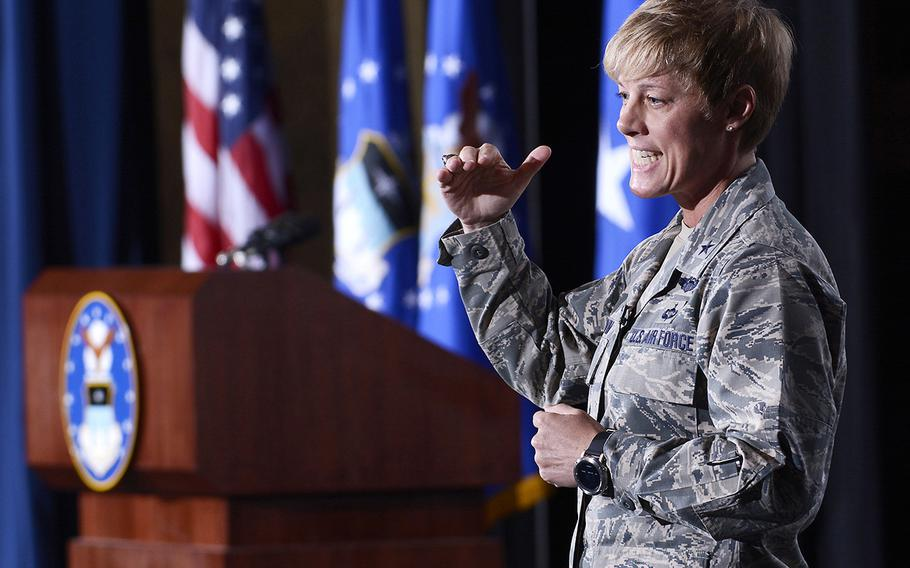Brig. Gen. Kristin Goodwin, U.S Air Force Academy commandant, answers questions and discusses goals and priorities at the Academy's Arnold Hall Theater, Aug. 17, 2017.