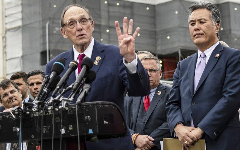 House Veterans' Affairs Committee Ranking Member Phil Roe, R-Tenn., makes a point during a Capitol Hill press conference on April 29, 2019. At right is committee Chairman Mark Takano, D-Calif.