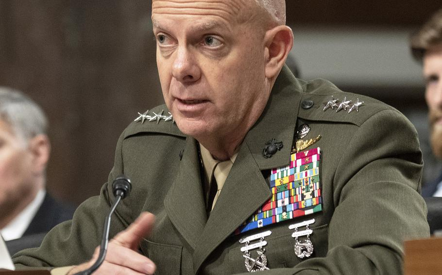 Marine Corps Commandant nominee Lt. Gen. David H. Berger answers a question during his confirmation hearing on Capitol Hill, Apr. 30, 2019.