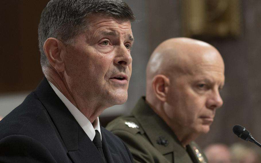 Chief of Naval Operations nominee Adm. William F. Moran answers a question during his confirmation hearing on Capitol Hill, Apr. 30, 2019. At right is Marine Corps Commandant nominee Lt. Gen. David H. Berger.