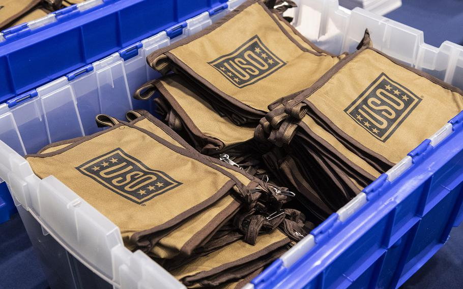 Nylon bags are ready to be filled with treats for servicemembers during a USO event at the Dirksen Senate Office Building on Capitol Hill, April 30, 2019.