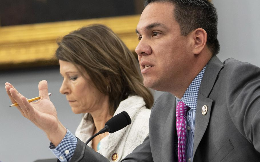 Rep. Pete Aguilar, D-Calif., questions Acting Secretary of Defense Patrick Shanahan on border security policy during a House Appropriations subcommittee hearing on the DOD budget, May 1, 2019 on Capitol Hill.