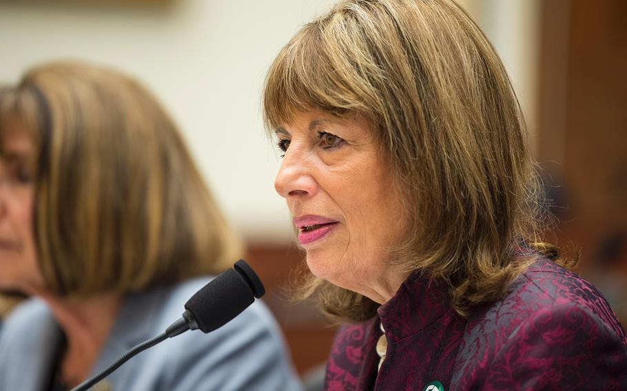 Chairwoman of the House Armed Services' Military Personnel Subcommittee U.S. Rep Jackie Speier, D-Calif., addresses the Feres Doctrine during her opening statement at a hearing on Capitol Hill in Washington on Tuesday, April 30, 2019.