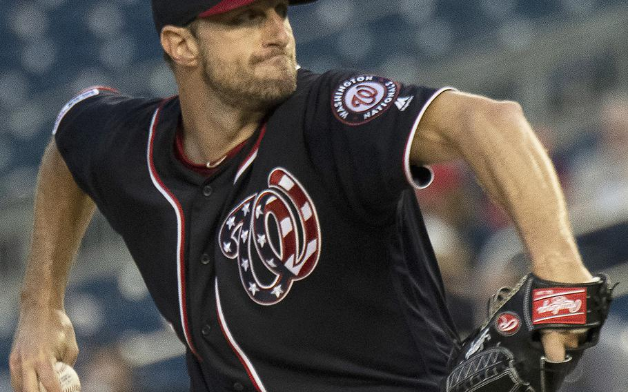 Max Scherzer of the Washington Nationals pitches against the St. Louis Cardinals at Nationals Park in Washington, Wednesday, May 1, 2019. St. Louis won, 5-1, leaving Scherzer with a 1-4 record for the season.