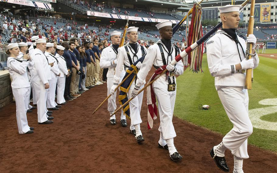 The U.S. Navy Ceremonial Guard arrives on the field during Navy Night at Nationals Park in Washington, D.C., May 1, 2019.