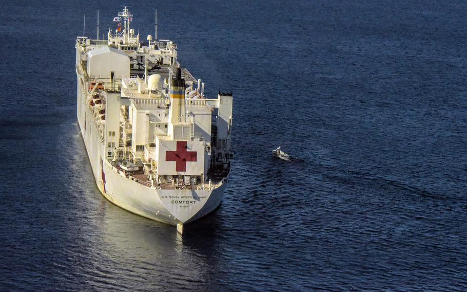 In a December, 2018 file photo, the USNS Comfort is seen off the coast of Honduras.