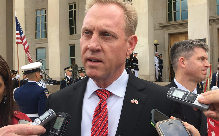 Acting Defense Secretary Pat Shanahan talks to reporters at the Pentagon on May 9, 2019 after the White House announced that President Donald Trump will nominate him for the job on a permanent basis.