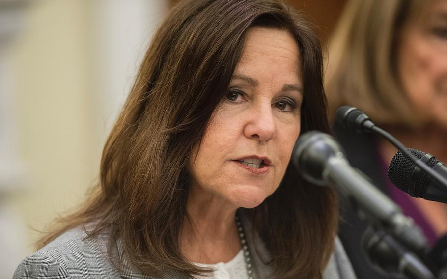 Second lady Karen Pence, wife of Vice President Mike Pence attends a briefing in the Russell Senate Building on Capitol Hill in Washington on Thursday, May 9, 2019.