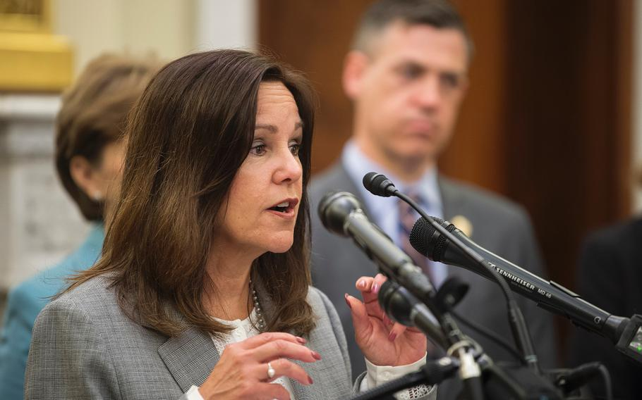 Second lady Karen Pence, wife of Vice President Mike Pence, speaks during a briefing in the Russell Senate Building on Capitol Hill in Washington on Thursday, May 9, 2019.