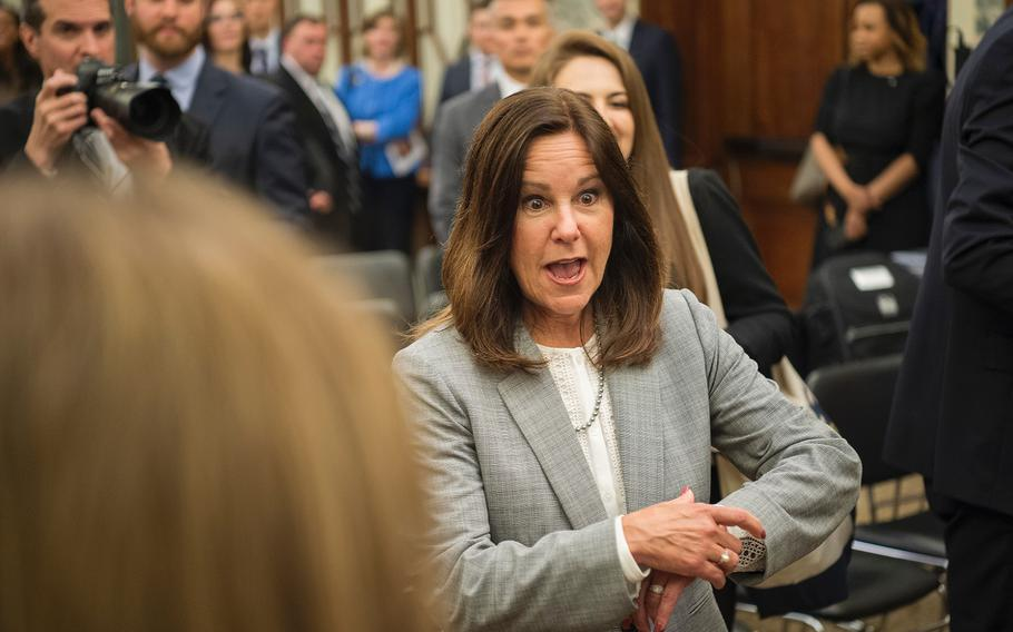 Second lady Karen Pence, wife of Vice President Mike Pence prepares to pass out appreciation bracelets to military spouses after a briefing in the Russell Senate Building on Capitol Hill in Washington on Thursday, May 9, 2019.