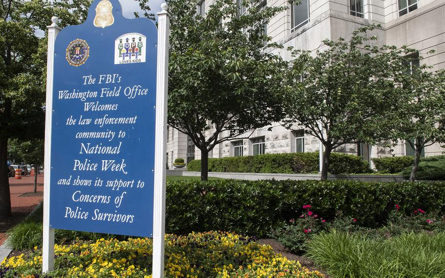 A tribute from the FBI during National Police Week near the National Law Enforcement Officers Memorial in Washington, D.C., May 14, 2019.