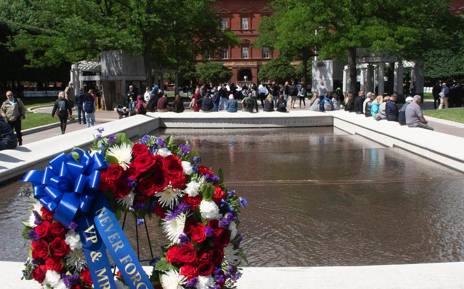 A wreath from Vice President and Mrs. Mike Pence at the National Law Enforcement Officers Memorial in Washington, D.C., during National Police Week , May 14, 2019. In the background is the National Building Museum.