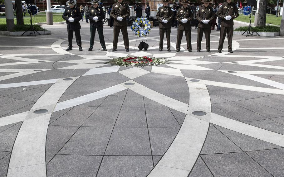 Bureau of Land Management police officers take their turn as the honor guard during National Police Week at the National Law Enforcement Officers Memorial in Washington, D.C., May 14, 2019.