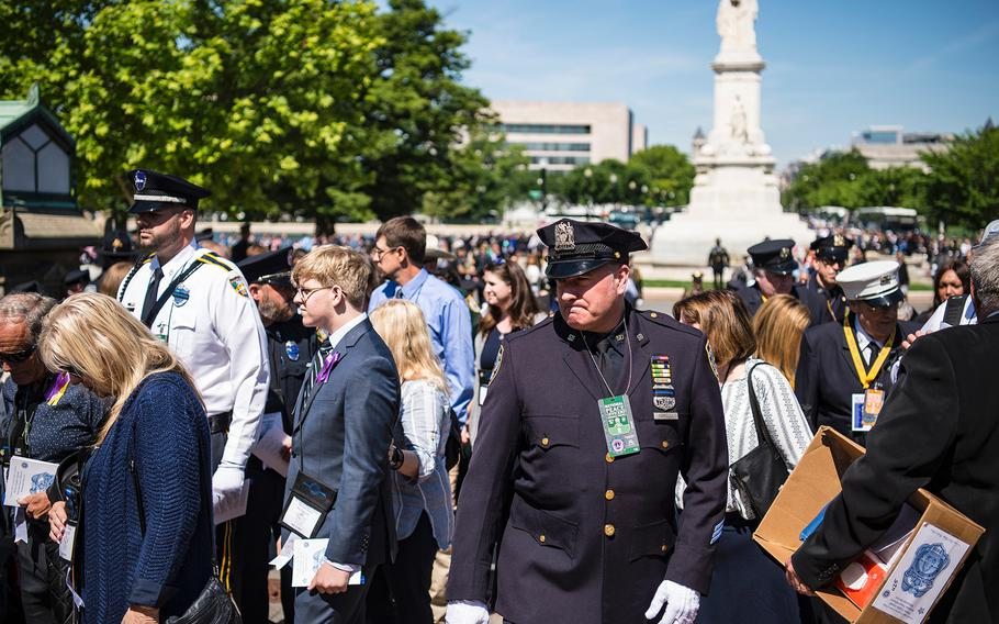 Thousands of people gathered at the U.S. Capitol in Washington on Wednesday, May, 15, 2019, for the 38th Annual National Peace Officers' Memorial Service to honor law enforcement personnel who have fallen in the line of duty.