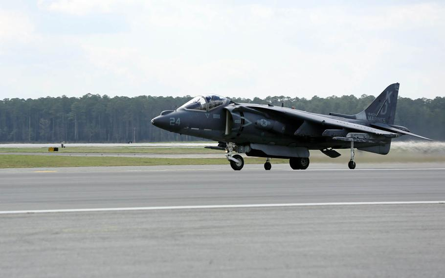 An AV-8B Harrier takes off from Marine Corps Air Station Cherry Point, N.C., March 21, 2016.