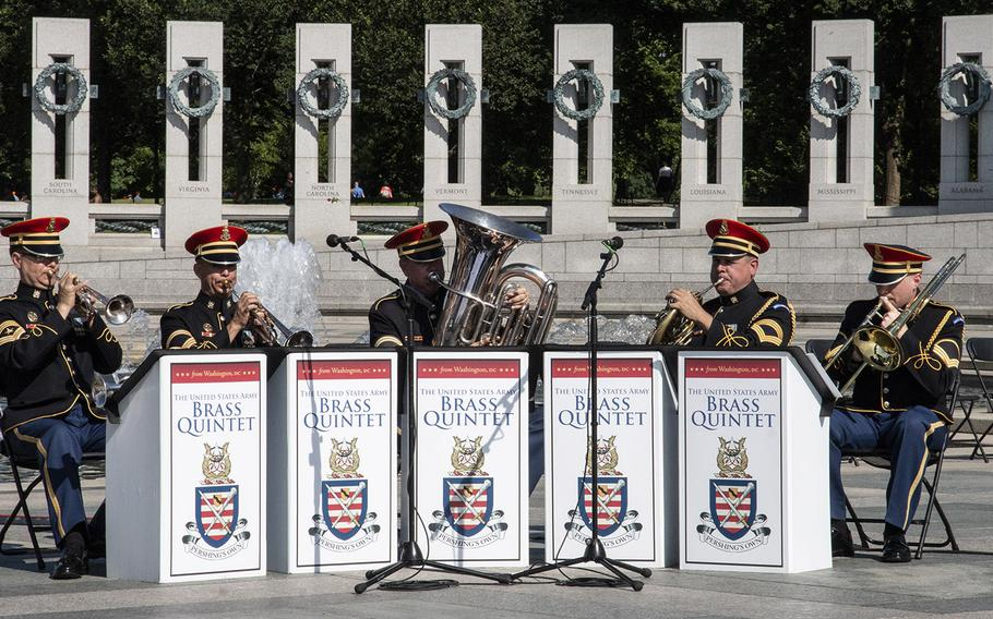 The U.S. Army Brass Quintet plays on Memorial Day at the National World War II Memorial in Washington, D.C., May 27, 2019.