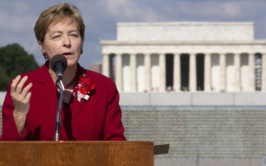 """Rep. Marcy Kaptur, D-Ohio, speaks at a Memorial Day ceremony at the National World War II Memorial in Washington, May 27, 2019. In the early 1990s, she introduced the bill in Congress that resulted in the memorial's construction. Kaptur said those who died in World War II served """"to prove to the world that liberty belongs to everyone."""""""