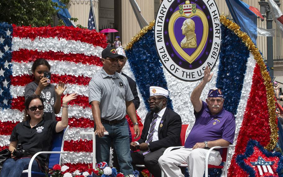 The Military Order of the Purple Heart float in the National Memorial Day Parade in Washington, D.C., May 27, 2019.