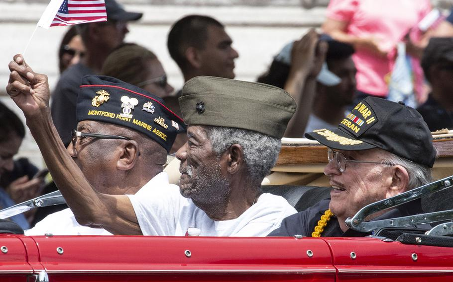 World War II veterans ride in the National Memorial Day Parade in Washington, D.C., May 27, 2019.