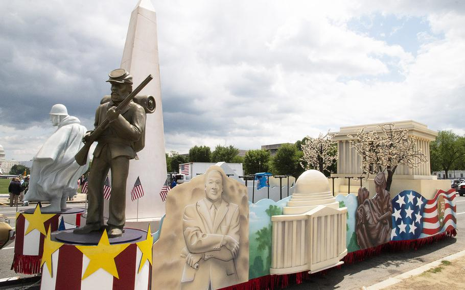 The National Park Service float spotlights some local landmarks for the National Memorial Day Parade in Washington, D.C., May 27, 2019.