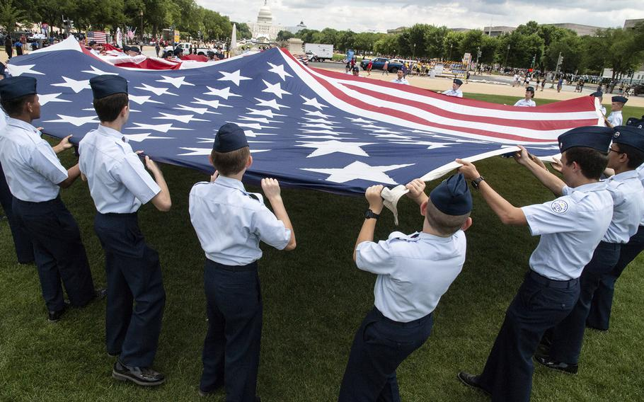 Getting ready for the National Memorial Day Parade in Washington, D.C., May 27, 2019.