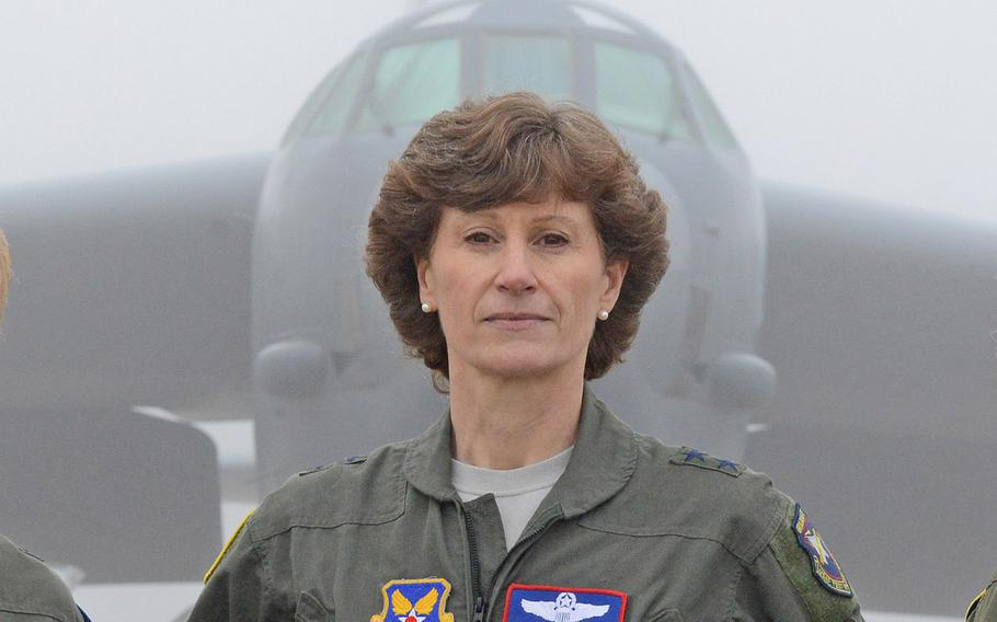 Maj. Gen. Dawn Dunlop, director of the Office of the Secretary of Defense Special Access Programs stands in front of an aircraft at Edwards Air Force Base, Calif., on Feb. 1, 2019.