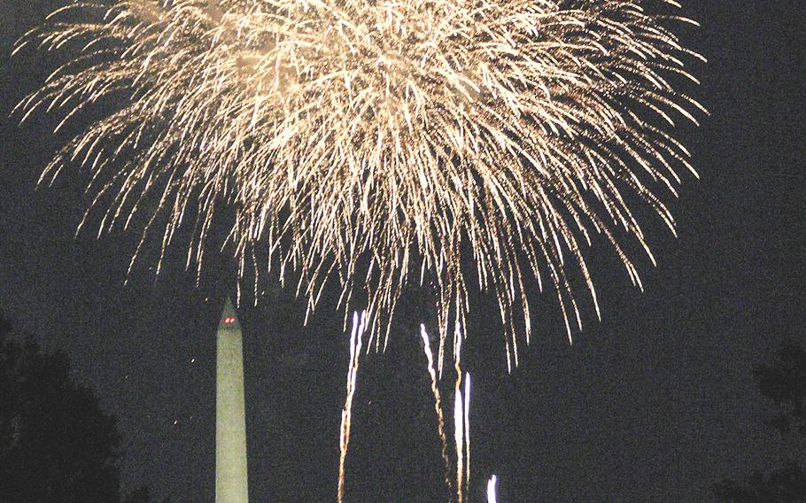 Fireworks light up the sky over the National Mall in Washington, D.C., during Independence Day festivities in 2005.