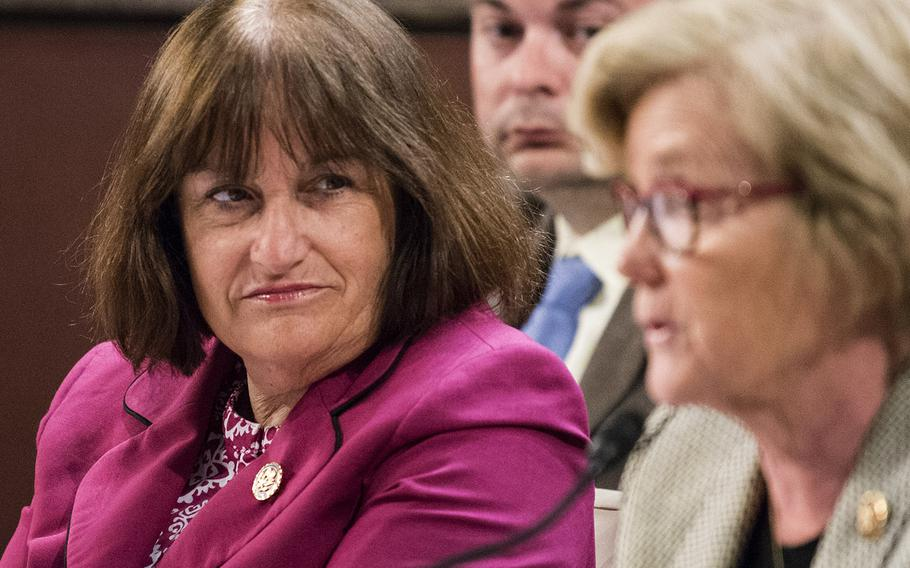 Rep. Annie Kuster, D-N.H., listens as Rep. Chellie Pingree, D-Maine, speaks at a hearing on Capitol Hill in Washington on Thursday, June 20, 2019.