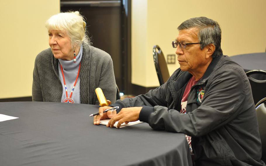 Carol Wild Scott, chairman of the Veterans and Military Law Section of the Federal Bar Association, listens to veterans on Tuesday, Nov. 6, 2018, with Mike Montoya, a member of the Okay Owingeh pueblo in New Mexico. Montoya, who helps veterans in his pueblo with VA claims, invited Scott to educate veterans about getting connected to VA benefits.
