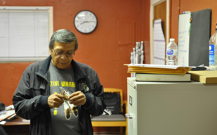 Michael Montoya, an Army veteran, in his office on the Ohkay Owingeh pueblo in north-central New Mexico on Wednesday, Nov. 7, 2018. Montoya is the only person in his pueblo who helps veterans and their families with VA claims.