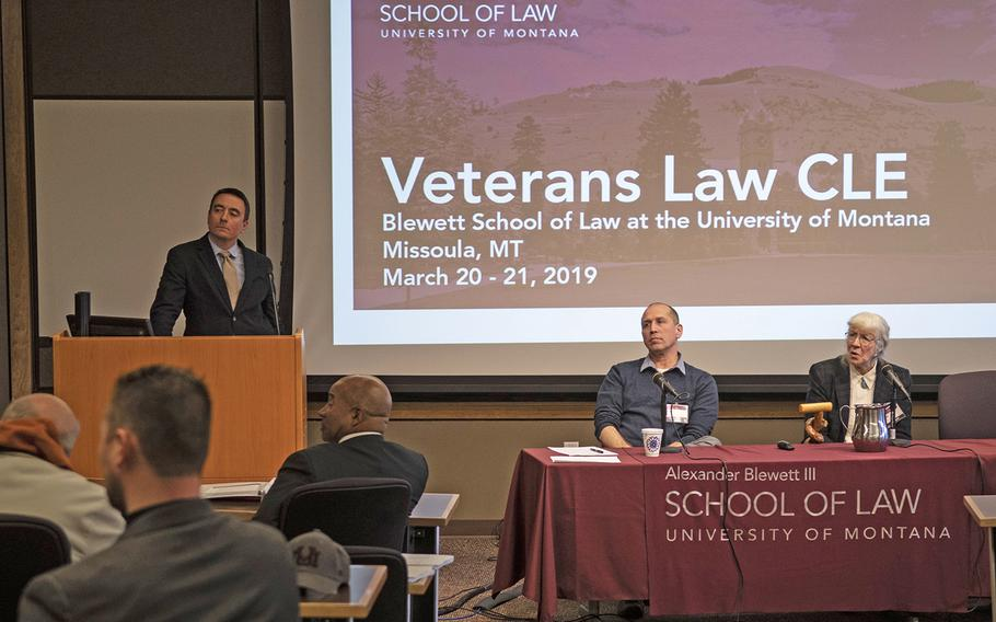 Peter Vicaire, left, and Carol Wild Scott, right, listen to a question from a veteran on Wednesday, March 20, 2019 at the University of Montana in Missoula. Vicaire, a member of the VA Office of Tribal Government Relations, expressed the need for Congress to allocate more resources to the office to help with veteran outreach.