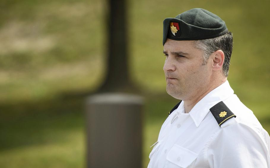 Maj. Mathew Golsteyn, a former Army Special Forces soldier, leaves the Fort Bragg, N.C. courtroom facility after an arraignment hearing on Thursday, June 27, 2019. Golsteyn entered a plea of not guilty in the killing of an unarmed Afghan national in 2010.