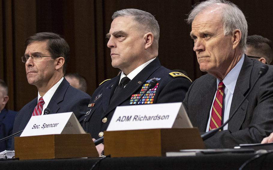 Listening during a Senate hearing in March, 2019 are, left to right, Army Secretary Mark Esper, Army Chief of Staff Gen. Mark Milley and Navy Secretary Richard Spencer. The Pentagon announced on July 15 that Spencer will serve as acting defense secretary as Esper faces his confirmation hearing to hold the post on a permanent basis; Milley is President Donald Trump's nominee to serve as chairman of the joint chiefs of staff.