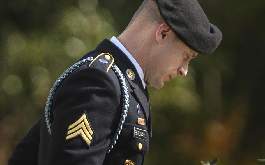 Army Sgt. Bowe Bergdahl leaves the Fort Bragg courtroom facility after a sentencing hearing on Thursday, Nov. 2, 2017.