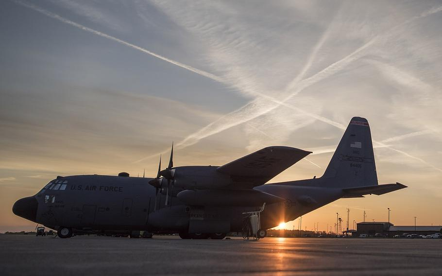 A May 15, 2019 file photo shows a C-130H Hercules that's undergoing maintenance by airmen from the 179th Airlift Wing Maintenance Group at Mansfield, Ohio.