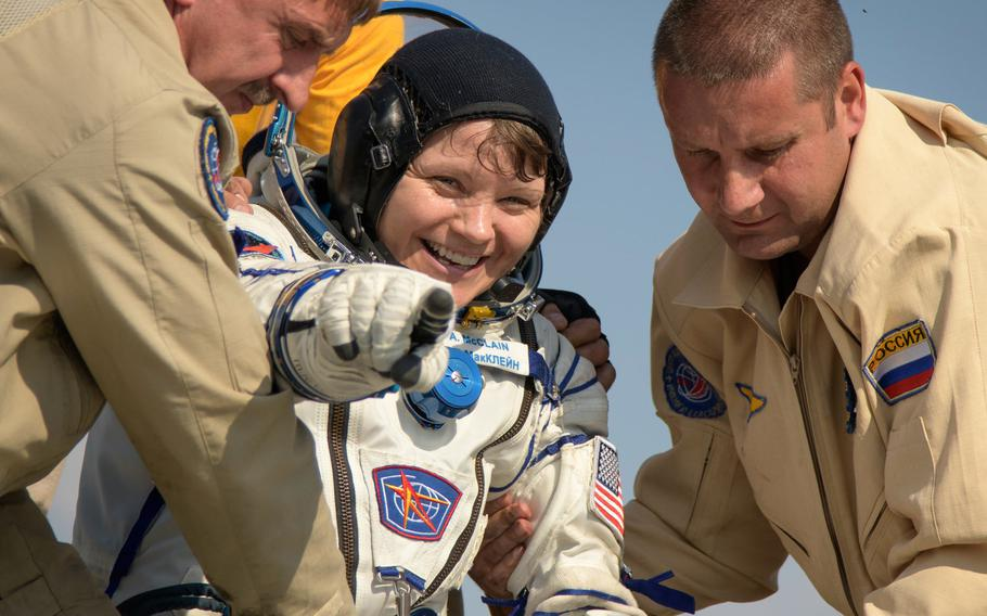 Army astronaut Lt. Col. Anne McClain exits the Soyuz MS-11 spacecraft minutes after she landed back on Earth, June 25, 2019. McClain is one of 12 female astronauts eligible to fly to the moon, and the only one serving in the Army, according to NASA.