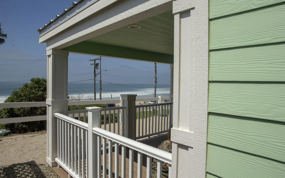 A newly built beach cottage overlooks the ocean prior to a dedication ceremony at San Onofre Beach on Marine Corps Base Camp Pendleton, Calif., Aug. 15, 2019.