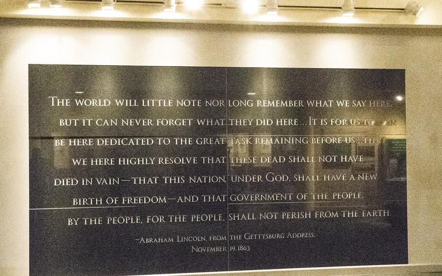 A wall at the National Civil War Museum in Harrisburg, Pa. memorializes a part of the Gettysburg Address that Abraham Lincoln gave on Nov. 19, 1863.