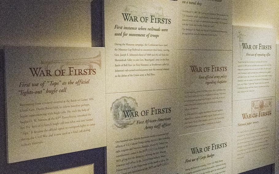 One exhibit at the National Civil War Museum in Harrisburg, Pa. highlights the numerous firsts that took place during the Civil War — from the first paper money to the establishment of the Internal Revenue Service.