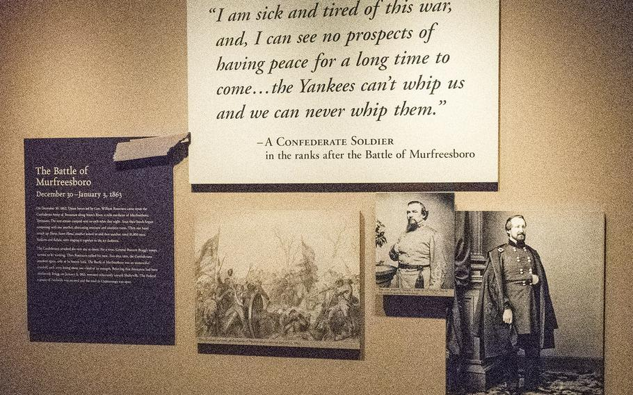 This exhibit at the National Civil War Museum in Harrisburg, Pa. tells the history of the Battle of Murfreesboro through the words of a common soldier.