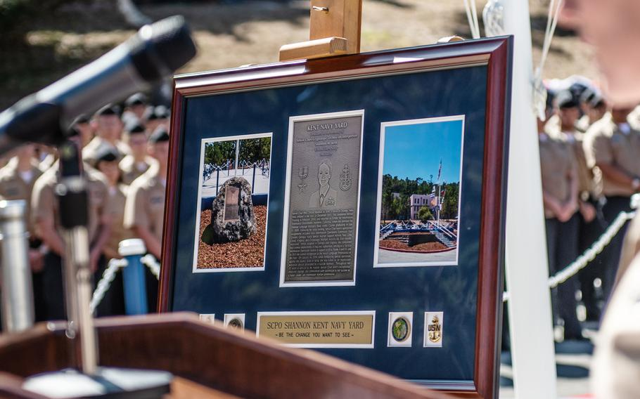 A gift for the dedication of the Kent Navy Yard is seen at the Presidio of Monterey, California, Aug. 21, 2019. The Kent Navy Yard is named after Senior Chief Petty Officer Shannon Kent, a Navy linguist who died in Syria Jan. 16, 2019.