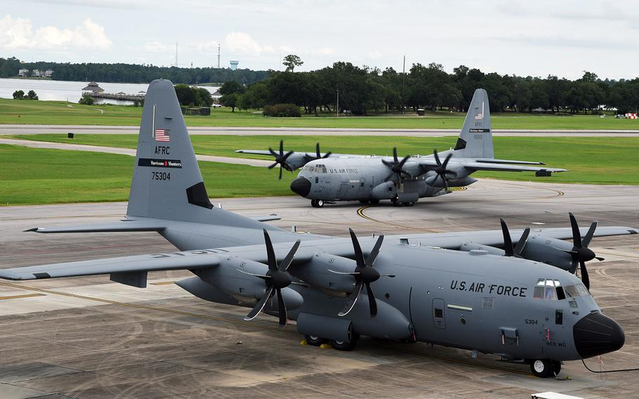 In an August 25, 2019 photo, WC-130J Super Hercules aircraft from the 53rd Weather Reconnaissance Squadron, known as Hurricane Hunters, prepare to leave Keesler Air Force Base, Miss., for a staging area on Curaçao and eventually into Hurricane Dorian.