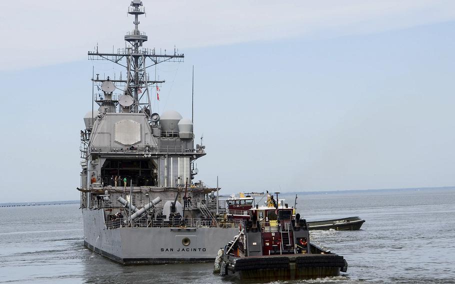USS San Jacinto (CG-56) departs Naval Station Norfolk, Va., as Hurricane Dorian heads up the coast.