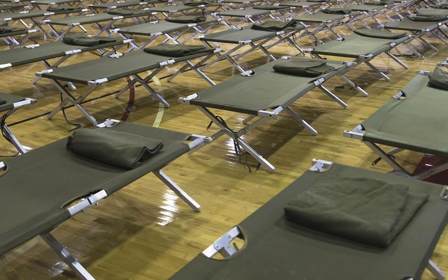 Cots are laid out in preparation for hurricane Dorian in the Marine Dome at Marine Corps Air Station Cherry Point, North Carolina, Sept. 5, 2019. The Marine Dome opened Sept. 5, at 9 a.m., to provide shelter for anyone with valid installation access.