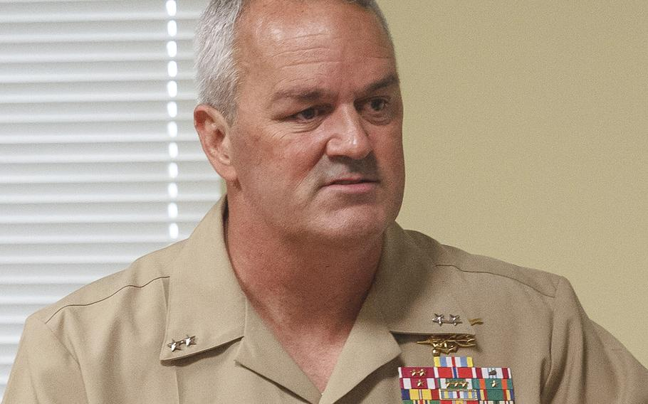 Rear Adm. Collin P. Green, shown here speaking at Homestead Air Reserve Base, Fla., in 2017, has dismissed SEAL Team 7's top three leaders from their duties.