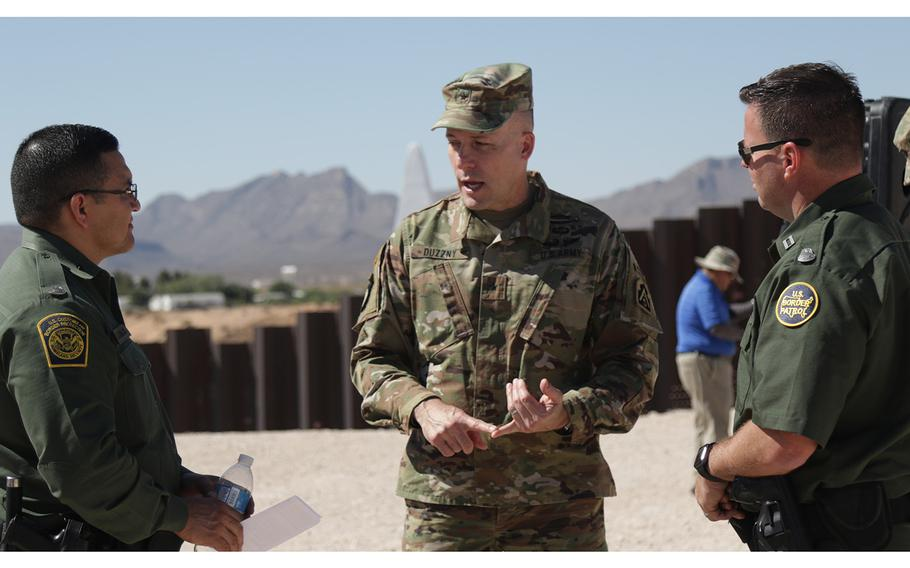 Brig. Gen. Walter Duzzny, the Deputy Commanding General of U.S. Army North, speaks to border patrol agents in Sunland Park, New Mexico, on June 6, 2019. Pentagon officials confirmed on Wednesday, Sept. 11, that Defense Secretary Mark Esper has approved troop deployments along the US-Mexico border through 2020.