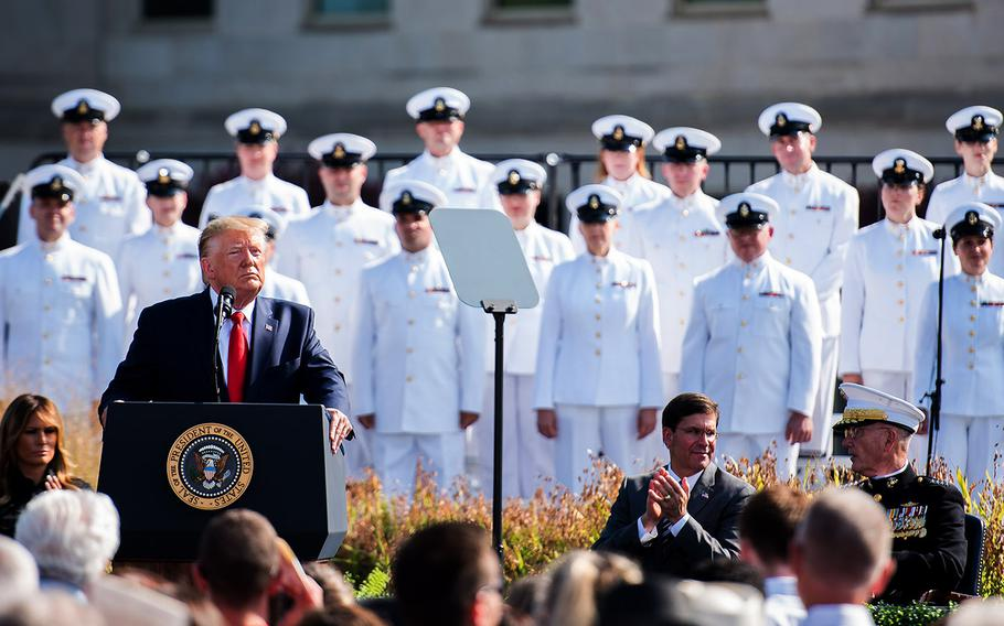 President Donald Trump speaks Wednesday, Sept. 11, 2019 at the Pentagon during a ceremony marking the 18th anniversary of the 9/11 terrorist attacks there and in New York City.