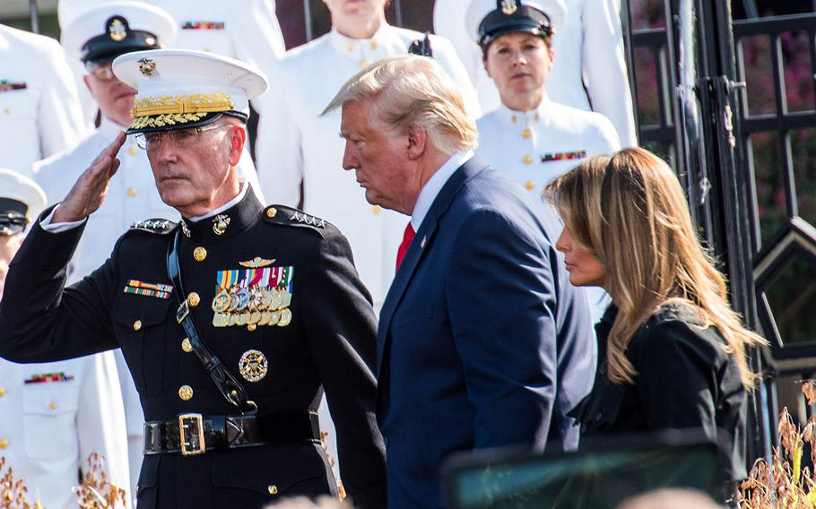 Marine Gen. Joseph Dunford, the chairman of the Joint Chiefs of Staff, salutes as President Donald Trump and Melania Trump arrive at the Pentagon on Wednesday, Sept. 11, 2019 for the annual 9/11 commemoration.