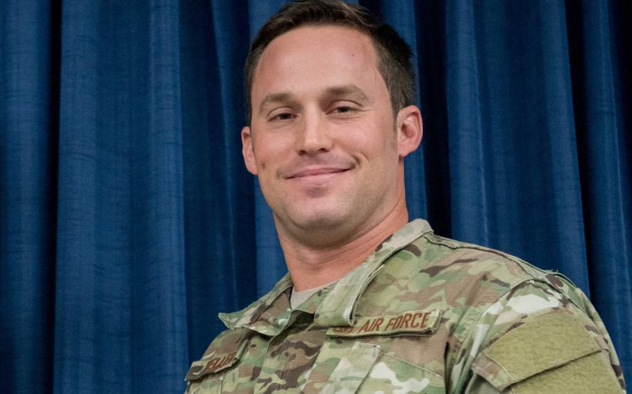 Then-Staff Sgt. Daniel P. Keller, a combat controller in the Kentucky Air National Guard's 123rd Special Tactics Squadron, attends a ceremony on Nov. 17, 2018, as he was awarded the Bronze Star. Keller, who has been promoted to technical sergeant, will be awarded the Air Force Cross for his actions on a battlefield in Afghanistan. The honor is to be presented by Gen. David L. Goldfein, Air Force chief of staff, during a ceremony in Louisville, Ky., Friday Sept. 13, 2019.