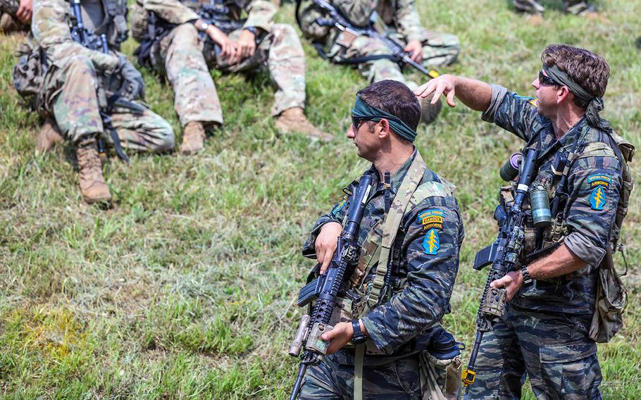Green Berets of 5th Special Forces Group (Airborne) are pictured here wearing tiger stripe uniforms on Wednesday, Aug. 14, 2019, during a joint exercise on Fort Campbell, Ky.